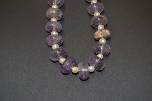 Amethyst SWP cultured pearl gemstone necklace