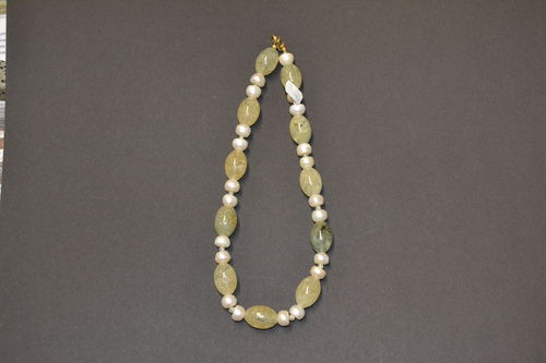 Prehnite Freshwater pearls     jewelery necklace