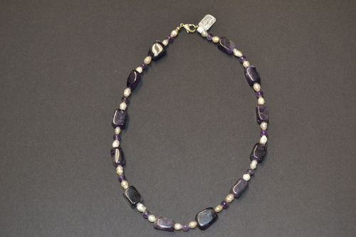 noble stone necklace Amethyst SWP freshwater pearl