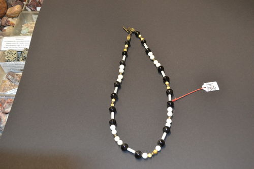 precious stone necklace mother of pearl onyx howlite