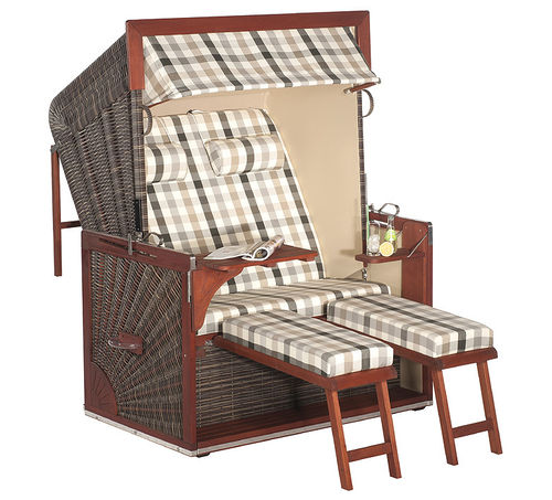 Sonnenpartner Exclusiv Nordsee XL Strandkorb Admiral 70088214 Mahagoni Holz + Polyrattan cappuccino