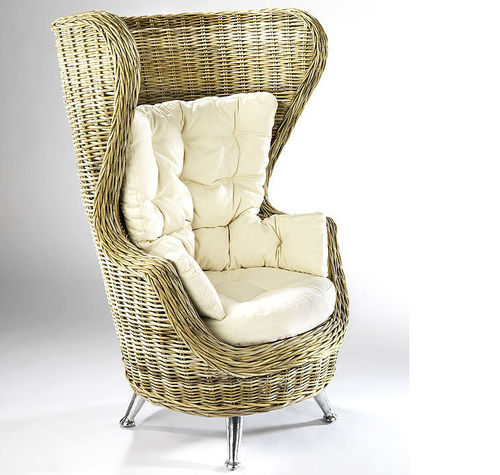Home Ohren Sessel King Chair 20084-23 Rattan + Kissen AKTION