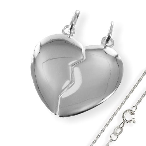 Doppel-Anhänger Herzhochglanz 925 Silber
