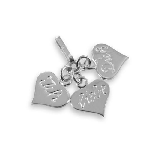 Anhänger 3 HerzenMit Gravur Ich - liebe - Dich, 925 Silber