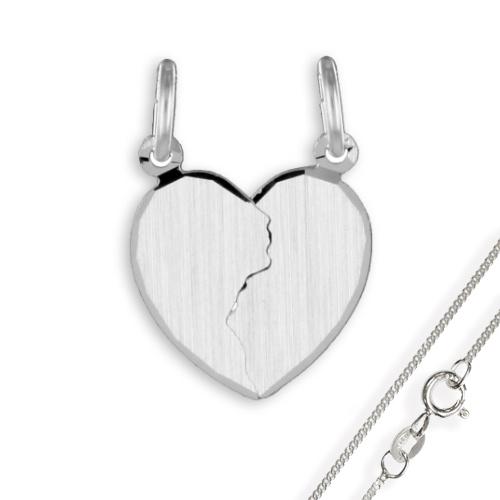Doppel-Anhänger Herz diamatiert 925 Silber