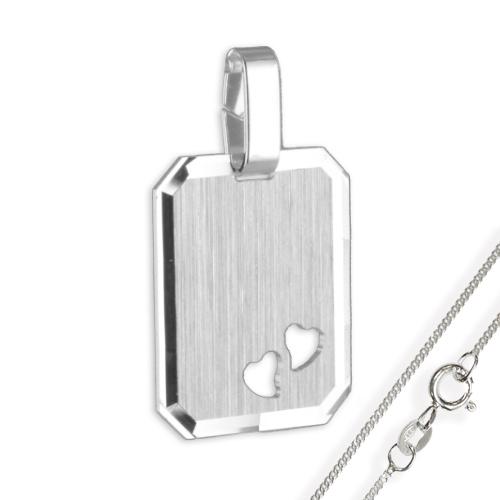Anhänger / Gravurplatte Herz925 Silber, teilmatt und diamantiert
