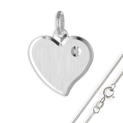 Anhänger / Gravurplatte Herz mattiert mit Zirkonia925 Silber