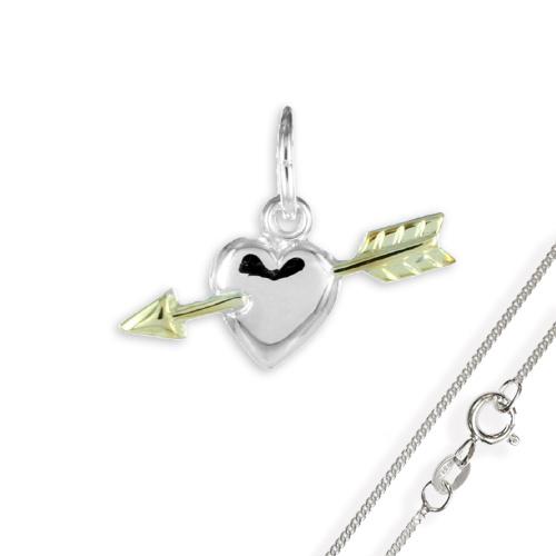Anhänger Herz mit Pfeil 925 Silber teilvergoldet