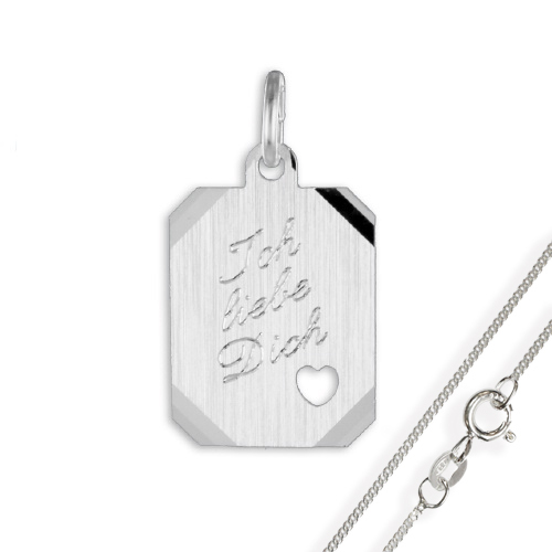 Anhänger / Gravurplatte Herz925 Silber, diamantiert