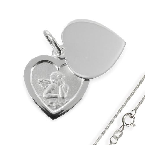 Anhänger-Schutzengel Herz925 Silber mit Gravur Gott schütze Dich