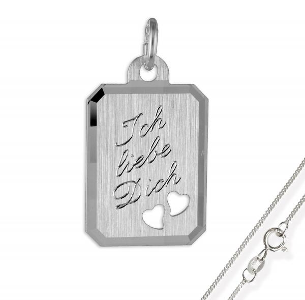 Anhänger / Gravurplatte Herz925 Silber, mattiert und diamantiert