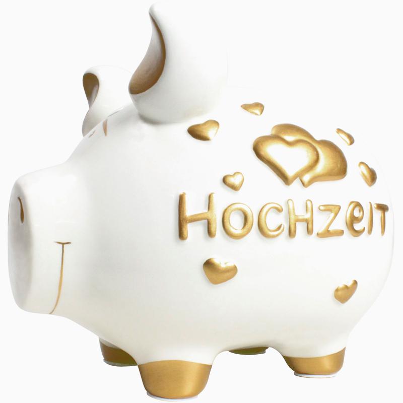 Sparschwein mit Herz Spardose Sparbüchse Keramik Hochzeit Geldgeschenk