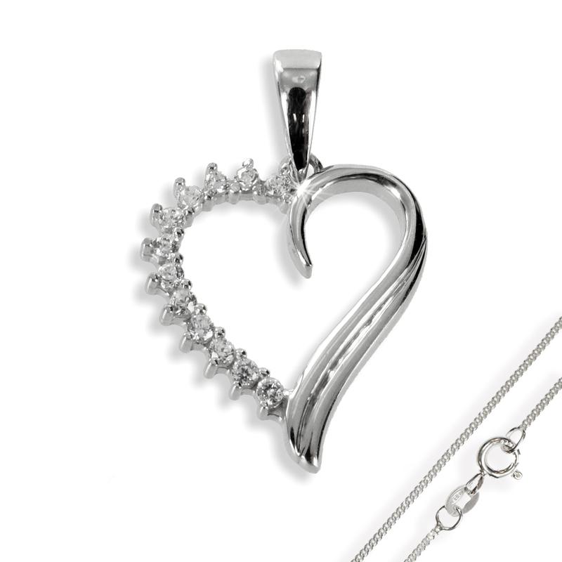Anhänger Herz mit 12 Zirkonia Silber 925 mit Kette
