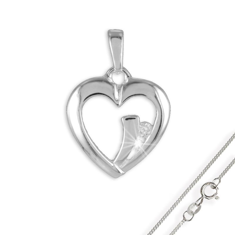 Anhänger Herz mit 2 Zirkonia Silber 925 mit Kette