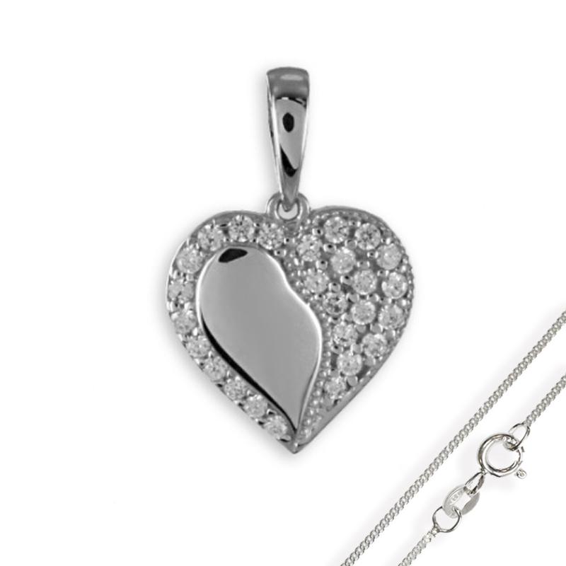 Anhänger Herz mit 26 Zirkonia Silber 925 mit Kette