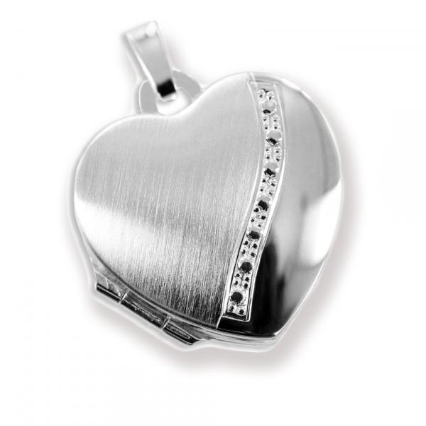 Herz Medaillon925 Silberzum öffnen für Bildereinlage/ 2 Fotos