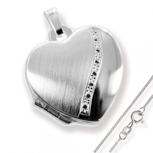 Herz Medaillon925 Silberzum öffnen für Bildereinlage/ 2 Fotos+ Kette