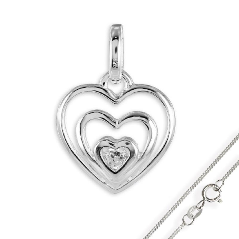 Anhänger Herz mit Zirkonia 925 Silber mit Kette