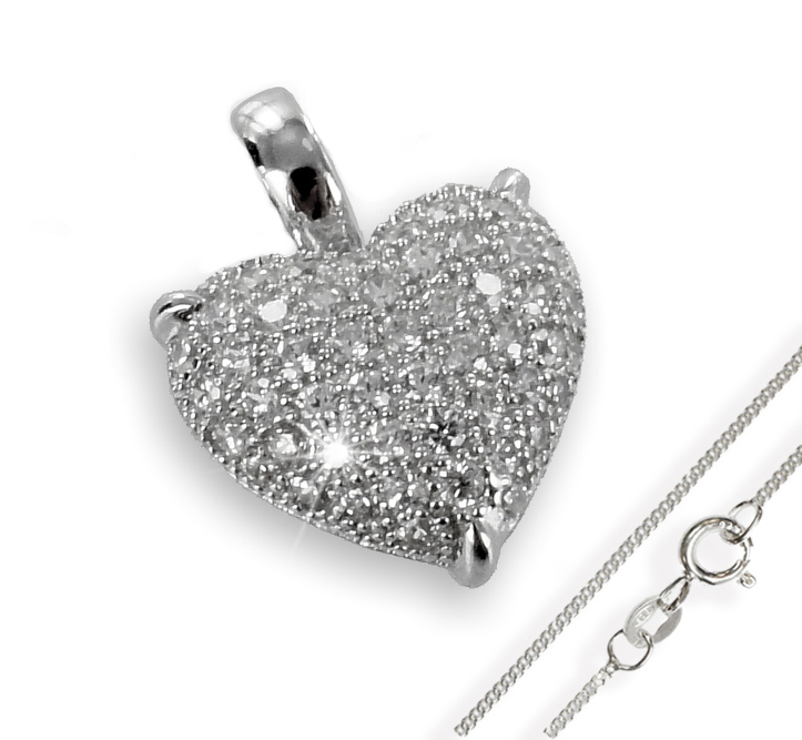Anhänger Herz mit Zirkonia Silber 925 mit Kette