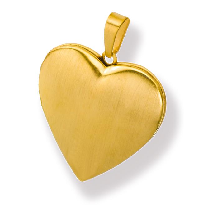 Medaillon mattiert Herz Edelstahl für 2 Fotos Anhänger Amulett-PVD Gold