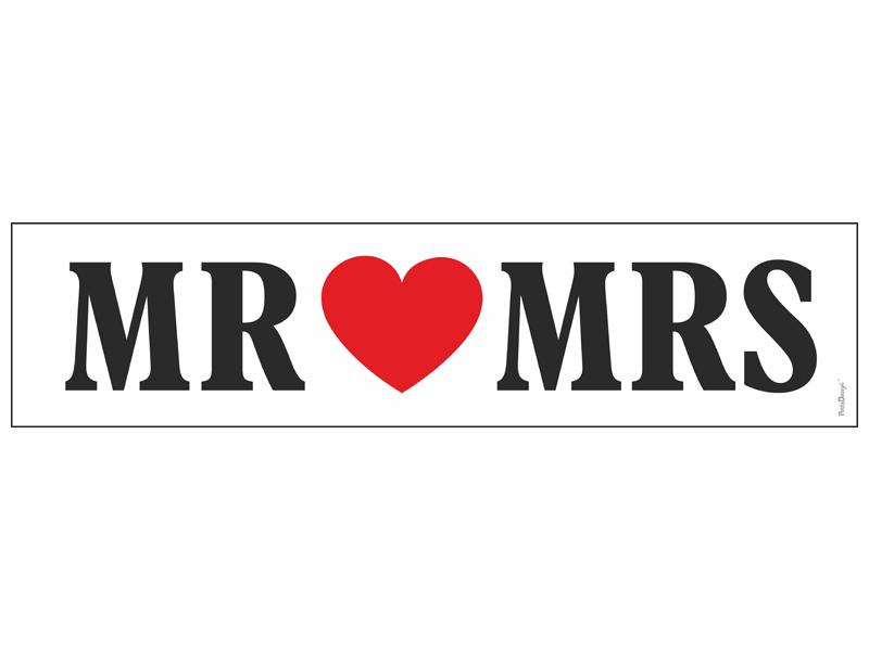"""Hochzeitauto Schild """"MR MRS"""" für Kennzeichenhalter KFZ Kennzeichen"""