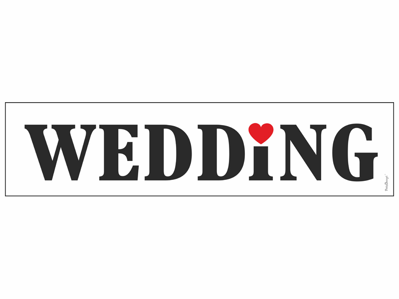"""Hochzeitauto Schild """"WEDDING"""" für Kennzeichenhalter KFZ Kennzeichen"""