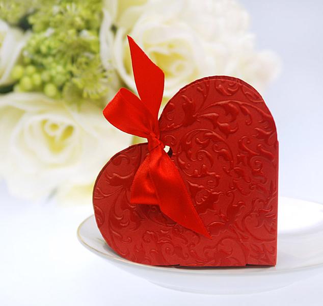 Geschenkbox Gastgeschenk Hochzeit Taufe Herz Herzform 10 Stück - rot