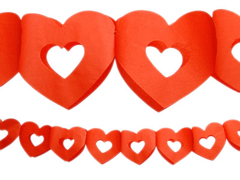 Girlanden mit roten Herz in Herz Herzen Herzgirlande