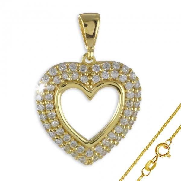 Anhänger Herz 925 Silber vergoldet + 56 Zirkonia ! + Kette