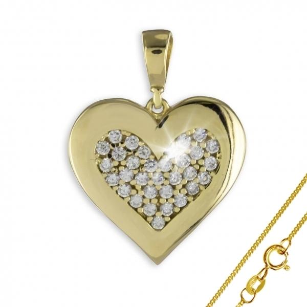 Anhänger Herz 925 Silber vergoldet + 33 Zirkonia ! + Kette