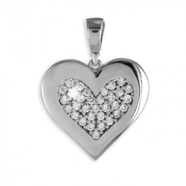 Anhänger Herz 925 Silber + 33 Zirkonia ! Schmuck Liebe
