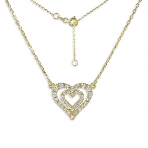 Collier Herz in Herz 925 Silber vergoldet 34 Zirkonia + Kette