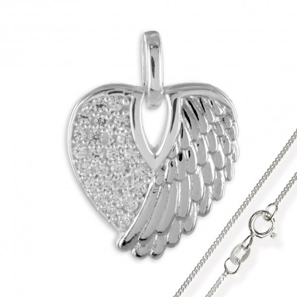 Anhänger Herz 925 Silber Engelsflügel + Kette Engel