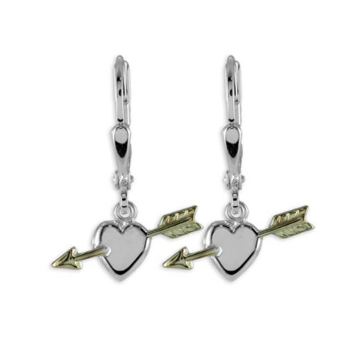Ohrhänger Ohrstecker Herzen mit Pfeil925 Silber Herz teilvergoldet