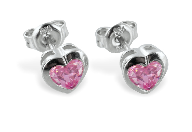 Ohrringe Ohrstecker HerzenSilber 925 Herz mit rosé Zirkonia
