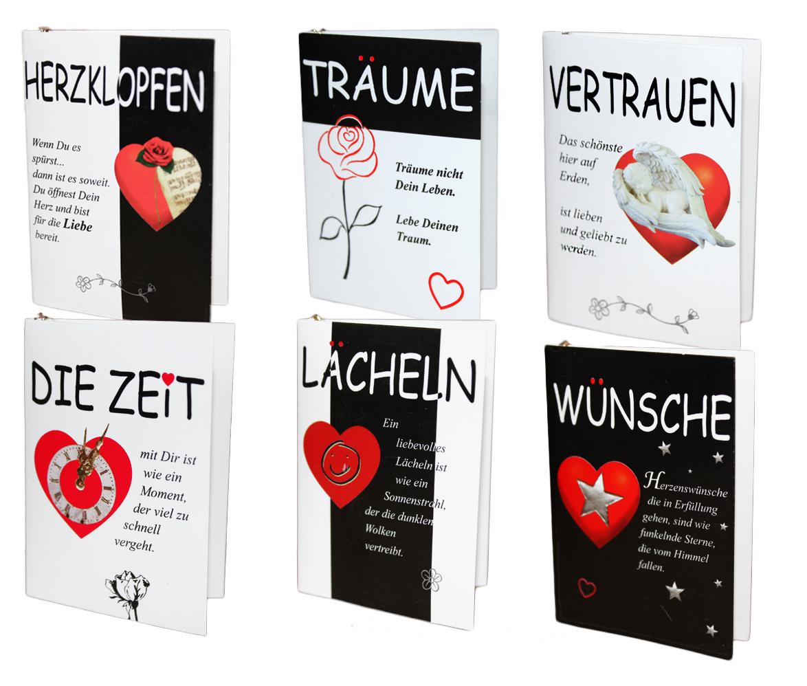 Kleine Klappkarten mit Herz Geschenkanhänger Flaschenanhänger Karte