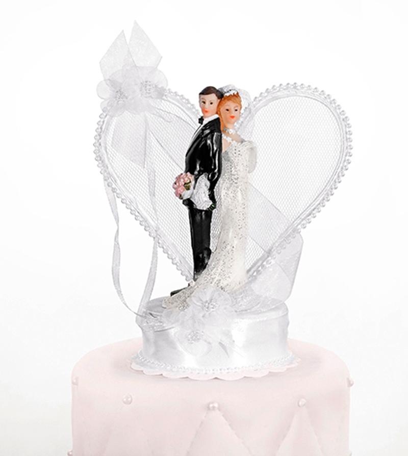 Tortenfigur Hochzeit Brautpaar mit Herz weiss Tortenaufsatz Tortendeko