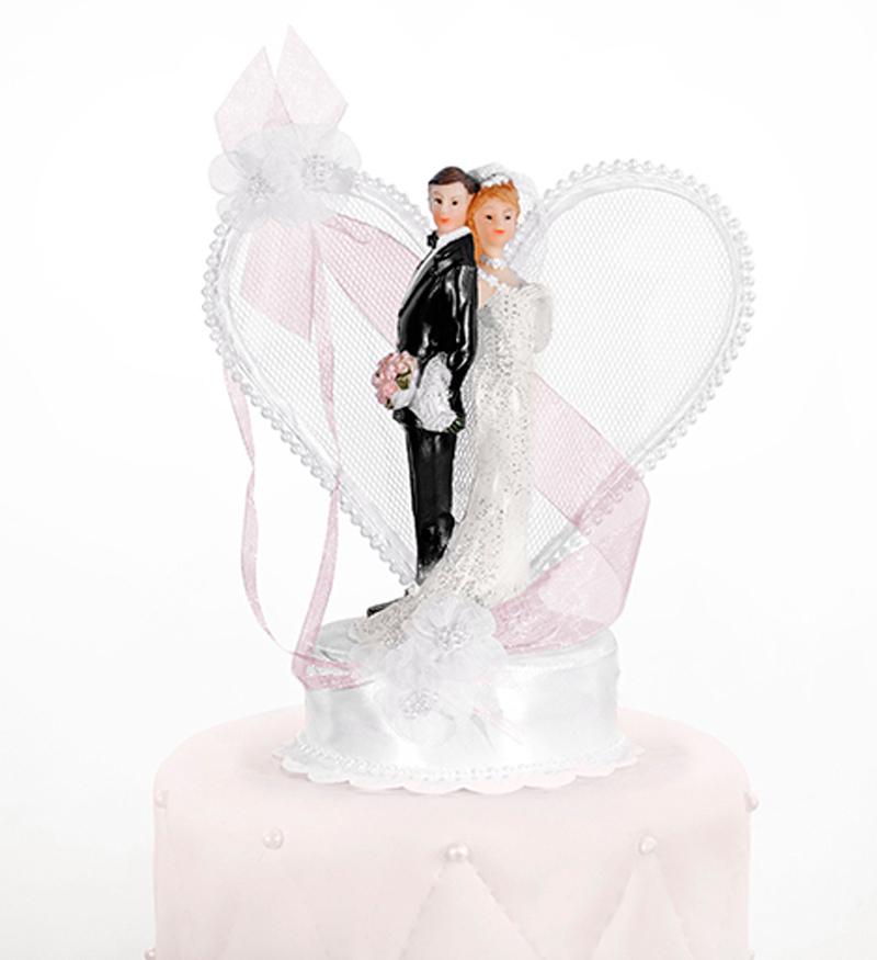 Tortenfigur Hochzeit Brautpaar mit Herz weiss Tortenaufsatz Tortendeko mit rosa Schleife