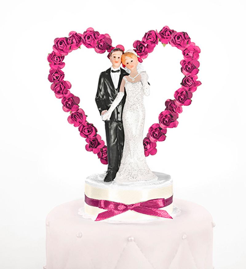 Tortenfigur Hochzeit Brautpaar mit Herz weiss - pink Tortenaufsatz Tortendeko