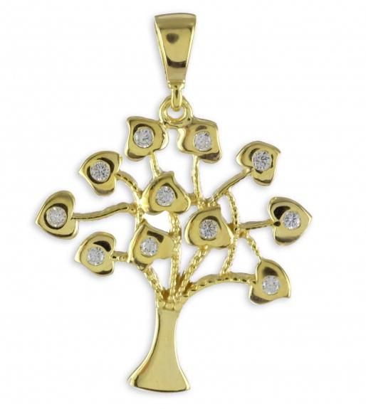 Lebensbaum Anhänger 925 Silber vergoldet mit Herzen und Zirkonia