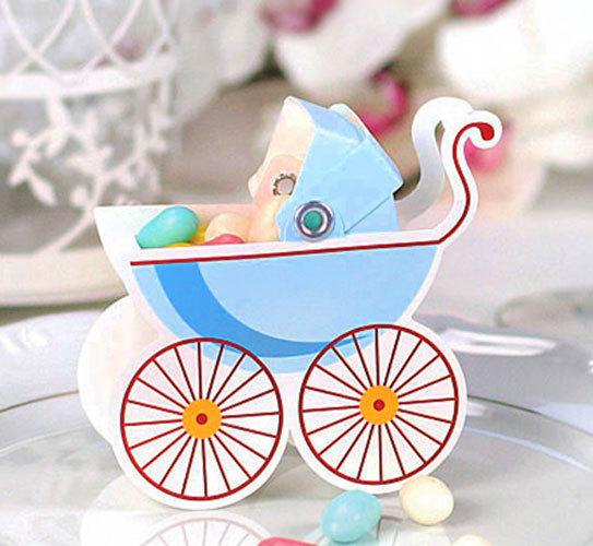 Geschenkbox 25x Gastgeschenk Geburt Taufe Baby Junge Kinderwagen blau