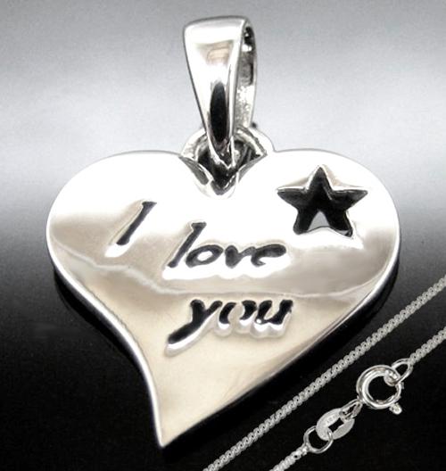 Anhänger Herz I love you 925 Silber mit Stern + Kette