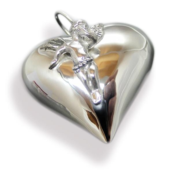 Herz Anhänger XXL - 925 Silber mit Engel