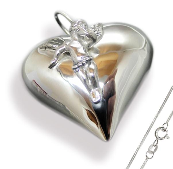 Herz Anhänger XXL - 925 Silber mit Engel + Kette