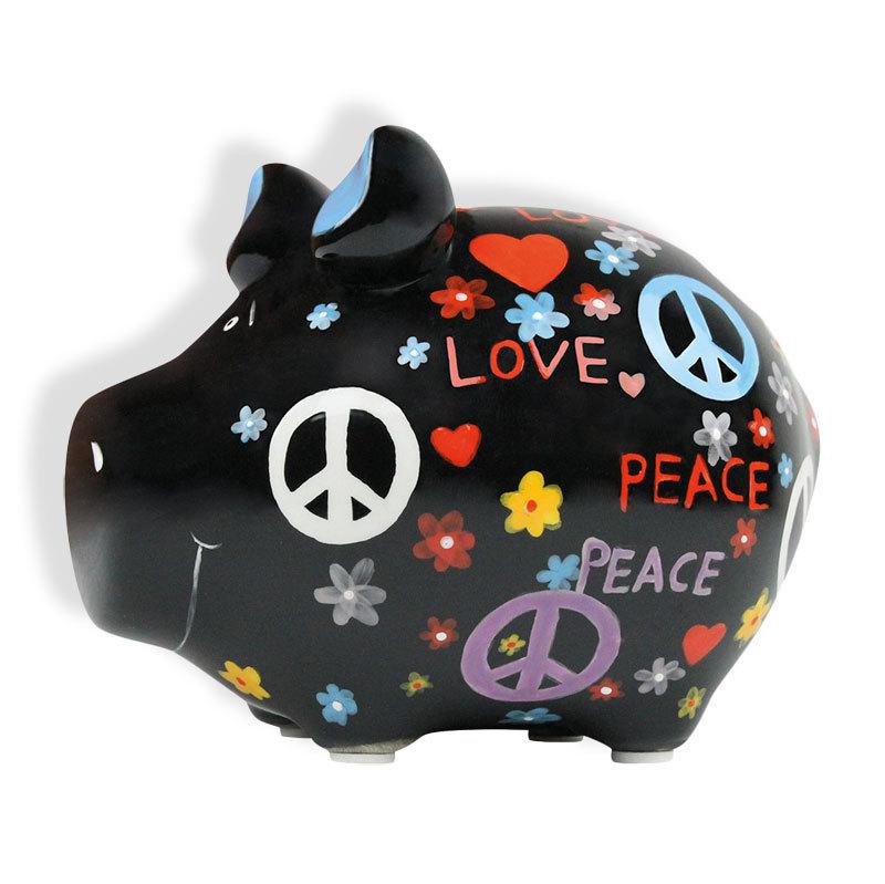Sparschwein Peace mit Herz Spardose Sparbüchse Keramik Hochzeit Geldgeschenk