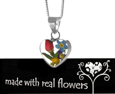 Anhänger Herz mit echten Blumen in 925 Silber eingefasst