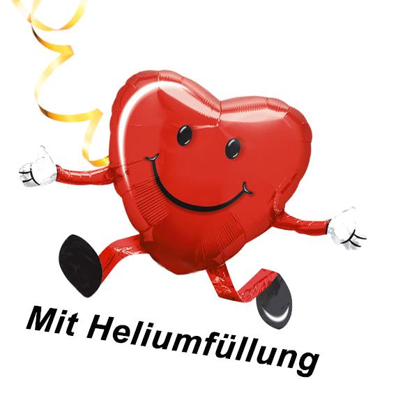 Folienballon Herz mit Heliumfüllung + Schnur - Folienballons Heliumballon