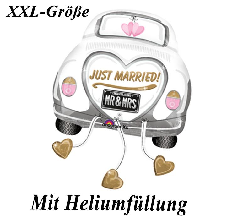 Folienballon Just Married mit Heliumfüllung + Schnur - Folienballons Herz Herzen