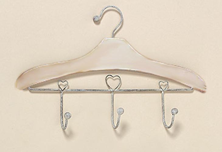 Garderobe in Kleiderhakenform mit 3 Haken Kleiderhaken Holz Metall