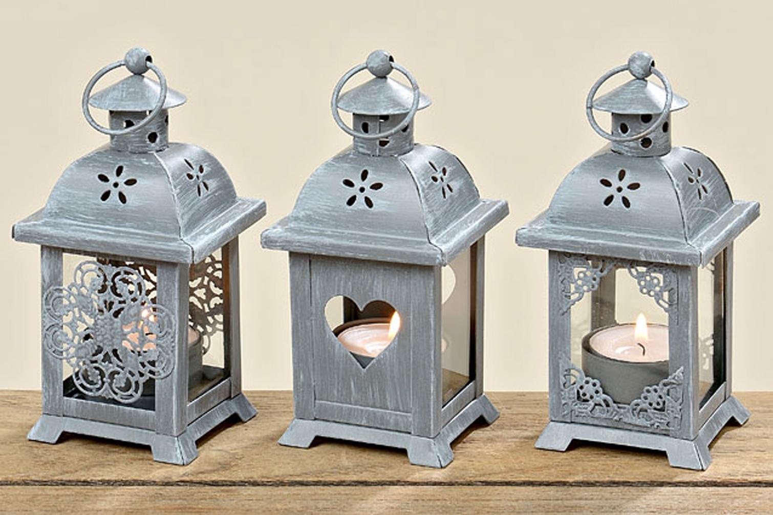 Laterne mit Herz 3er Set Windlicht  Gartendeko Shabby Kerze Teelicht